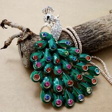 Fashion Gold-plating Green peafowl pendant Crystal Necklace Sweater chain LL169