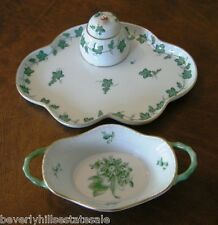 Hand Painted Herend Desk Set with Attached Covered Inkwell & Handled Basket