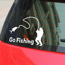 Car Auto Body Decor White Go Fishing Waterproof Reflective Graphic Vinyl Sticker