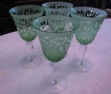 Iced Tea Water Goblet Beverage Glass Set 4 14-Ounce Pastel Green Frosted Etched