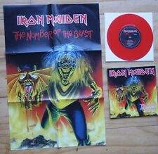 "EX! IRON MAIDEN - THE NUMBER OF THE BEAST 7"" RED VINYL + CALENDAR POSTER EM 666"