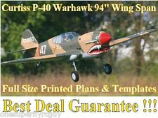 """P-40 Warhawk 94"""" WS Giant Scale RC Airplane Full Size Printed Plans & Templates"""