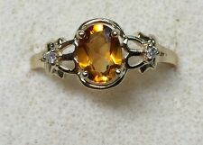 natural (REAL) DIAMOND & citrine Ladies RING solid 14k yellow gold