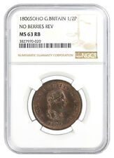 GREAT BRITAIN 1/2 PENNY 1806 NO BERRIES NGC GRADED MS63RB