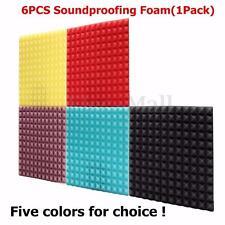 6PCS 12''x12''x1.2''Acoustic Foam Wedge Tiles Sound Studio Treatment Proofing