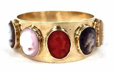 Vintage 14K Gold 5-Stone Cameo Ring (Red & Angelskin Coral/Onyx/Abalone/Shell)