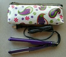 Conair Mini Pro 2-in-1 Purple Ceramic Styler Straightener Curling Iron With Bag