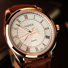 YAZOLE 336 Roman Number PU Leather Band Men Luxury Quartz Watch