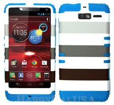 KoolKase Hybrid Cover Case for Motorola Droid Razr M XT907 - Stripe Gray