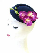 Navy Blue Purple Orchid Flower Pillbox Hat Fascinator Vtg Rockabilly 1950s 1343