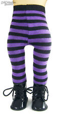 Black Witch Boots + Purple Striped Tights for American Girl Doll Halloween
