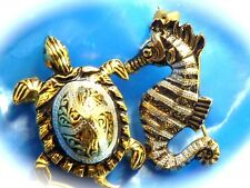 Vintage fashion jewery pins sea horse and turtle made in Spain pin brooch