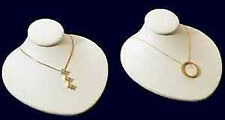 2 New White Leather Jewelry Display Bust Pendants & Necklaces Neck Forms