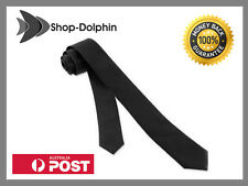 Black Skinny Tie Solid Necktie Narrow New Slim Neck Mens Men Casual Fashion