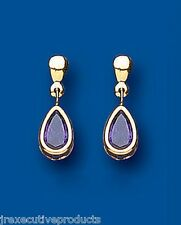 9ct Yellow Gold 17 x 6mm Real Amethyst Pear Drop Earrings Hallmarked UK Made