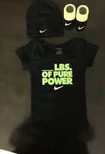 NEW NIKE Baby Infant Boy's 3 Piece Set Bodysuit, Booties, Cap,Sz 0-6M