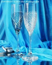 Personalized Wedding Champagne Glasses, Handmade Toasting Flutes, Set of 2