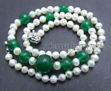 """SALE Round 5-6mm Natural White pearl and 6-12mm green jade 17"""" Necklace-nec5918"""