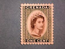 Granada. QE2 1953 1c Negro & Profundo Esmeralda. SG193. wmk Mult script ca. P 11 1/2. mh.