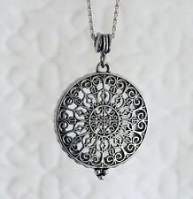 """Vintage Style Silver Filigree Magnifying Glass Pendant Long Necklace 31"""""""
