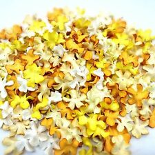 50 Mixed Yellow Tone & White Flowers mulberry paper for Craft & D.I.Y