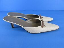 Kate Spade New York Italy Beige Cloth Mules with bow Detail size 8