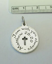 Pewter says I am with you always -Matthew 28:20 Cross Memory Grief Funeral Charm