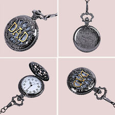 Delicate Antique DAD Pocket Watch Pendant Black Mens Pappy Father's Day Gift