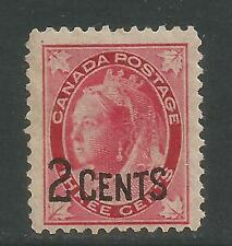 Canada 1899 Queen Victoria 2c on 3c carmine (87) MH