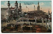 CONEY ISLAND PC Postcard NEW YORK CITY NYC NY Amusement Park WHIP AND TOP Ride