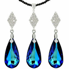 STUNNING OCEAN BLUE AND 14K SILVER TONE DROP JEWELLERY SET SWAROVSKI ELEMENTS
