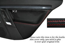 RED STITCH 2X REAR DOOR CARD SKIN COVERS FITS VAUXHALL OPEL VECTRA C SIGNUM