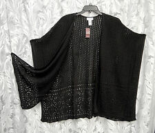 BLACK KIMONO KAFTAN PONCHO CAPE CARDIGAN JACKET SWEATER WRAP TOP~22/24~2X~3X~NEW