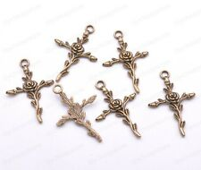 10/30/50Pcs Retro Style Rose Cross Tibetan Sliver Charms Pendant 35*23mm JK45