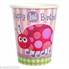 LADYBUG 1st BIRTHDAY GIRL 9oz PAPER CUPS (8) ~ First Party Supplies Beverage