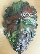 "Green Man Leaf Face 13"" Tree Man Mythical God wall Sculpture"
