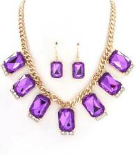 PURPLE CABOCHON LUCITE STUD CLEAR CRYSTAL GOLD TONE LINK NECKLACE EARRING
