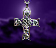 Vintage Cross Pendant Necklace with Clear Swarovski Crystal N2G2