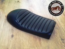 BLACK LEATHER LOOK CAFE RACER SEAT WITH MULTI FIT BRACKETS *  PROJECT KIT