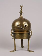 An Antique Islamic Brass Incense Burner & Stand - Inscribed.