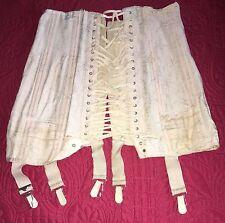 Antique C1910 Edwardian Pale Pink Brocade Ladies Lace Up Corset