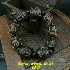 Black sandalwood carving Mercy Kwan-Yin beads Tibetan Buddhism Amulet Bracelet