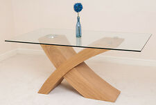 Valencia Small Glass Dining Room Table Wood Cross Leg Style Modern Table