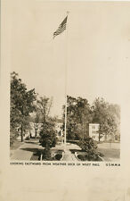 Kings Point NY * USMMA Flag Pole RPPC 1940s *US Merchant Marine Academy
