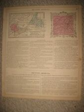 ANTIQUE 1864 NEW BRUNSWICK NOVA SCOTIA NEWFOUNDLAND MONTREAL CANADA HANDCOLR MAP