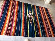 """Vintage Mexican Serape Saltillo 5'4"""" x 7'6"""" Wool Kilim Weaving Rug Blanket"""