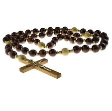 "Brown And Cream Big Giant Beads Rosario Jesus Cross Large 35"" Wall Rosary"