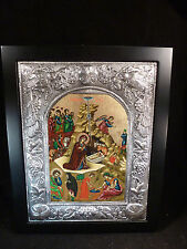 HANDPAINTED SIGNED BYZANTINE ICON OF NATIVITY MARY JESUS STERLING SILVER GREEK
