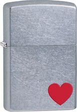 Zippo 29060, Red Heart, Street Chrome Finish Lighter, Full Size