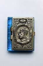 Blue glass silver jubilee stamp holder royal photographs George V with Mary.
